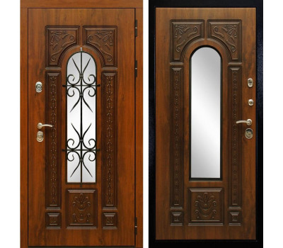 Входная уличная дверь Сударь Рим с окном и ковкой (Дуб золотой / Дуб золотой)