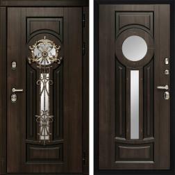 Входная уличная дверь Византия с окном и ковкой (Алмон 28 / Алмон 28)
